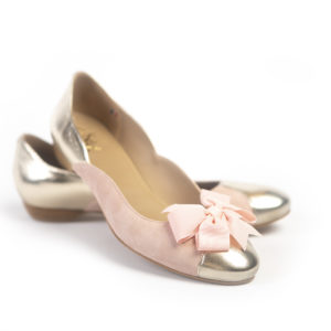 ballerine Varengeville rose et or